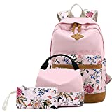 Sammid Causal Schoolbag Laptop Backpack,Fashion Lightweight 3pcs/Set Canvas Studen Backpack Fits 14 inch Laptop with Smooth Zipper Lunch Bag and Pen Case for Teen Girls Boys - Pink