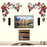 Decals Design 'Background Roses with Vine' Wall Sticker (PVC Vinyl, 70 cm x 50 cm, Black)