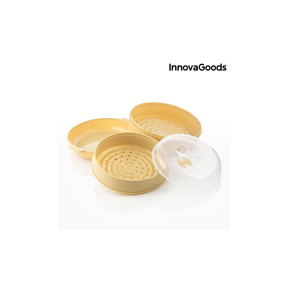 20/x 20/x 17/cm beige InnovaGoods Double Steamer for Microwave PVC