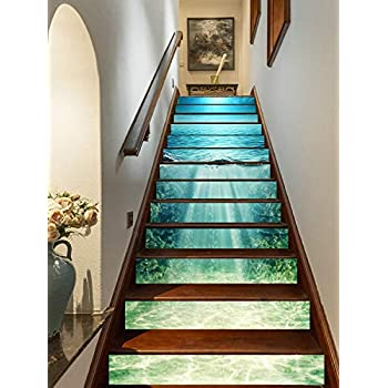 FLFK 3D Deep Blue Ocean Self-Adhesive Stair Risers Stickers Vinyl Staircase Stickers Wallpaper Home Decoration 39.3Inch x7.08Inch x13pcs