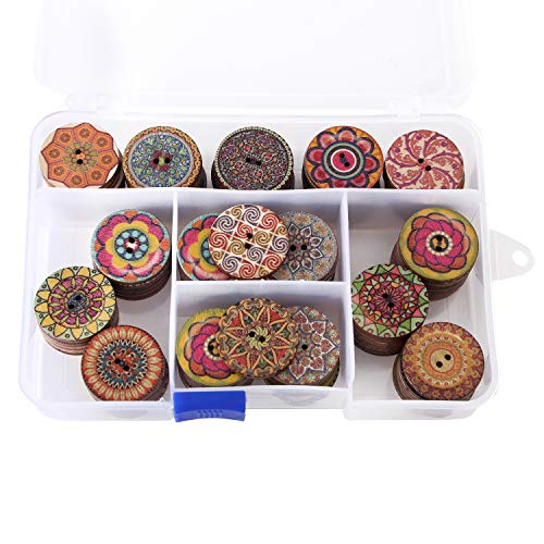 Assorted Round Wooden Buttons 2 Holes Mixed Color Vintage Flower Painting Buttons a Plastic Storage Box Included (100pcs)