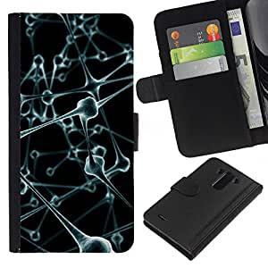KingStore / Leather Etui en cuir / LG G3 / Body Art Moléculas Anatomía Humana Moderna