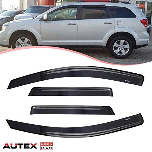 AUTEX 4Pcs Tape on Window Visor Fits for 2009 2010 2011 2012 2013 2014 2015 2016 2017 Dodge Journey Side Window Deflector Rain Shade Visors