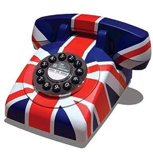 Protelx Classic Retro - Teléfono fijo estilo antiguo, diseño bandera británica [Importado de Reino Unido]