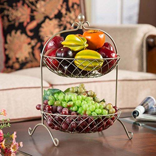 Fruit dish Sala de Estar Bandeja de Frutas, Arte de Hierro Circular Dos Capas Lavabo de Frutas, Estante de Almacenamiento...