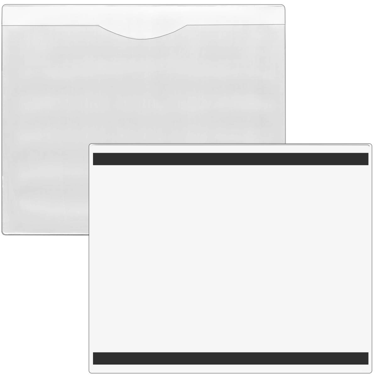StoreSMART - File Jacket with Magnetic Back - 25-Pack - White Plastic Back, Clear Plastic Front - Heavy Duty - FJ85PQWM-25