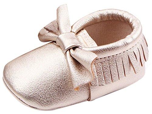 La Vogue Zapatos para Bebe con Lazo y borla Primeros Pasos Dorado Talla 13cm