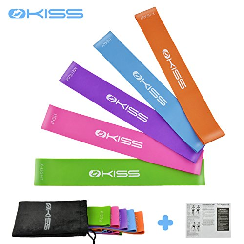 OKISS Resistance Loop Exercise Bands 100% Natural Latex Workout Bands Set of 5 for Home Fitness Yoga Pilates Legs Butt Arms Improve Mobility and Strength with Instruction Guideline&Carry Bag