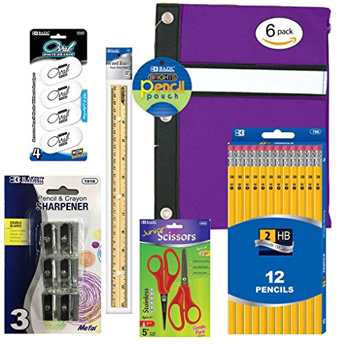 "School Supplies Bundle - Package Includes 12 #2 Yellow Pencils 1 Pencil Case (Colors May Vary) 4 Erasers 6 Metal Sharpeners 1 12"" Ruler & 2 Scissors (Colors May Vary) Total 6 Items / 26 Units"