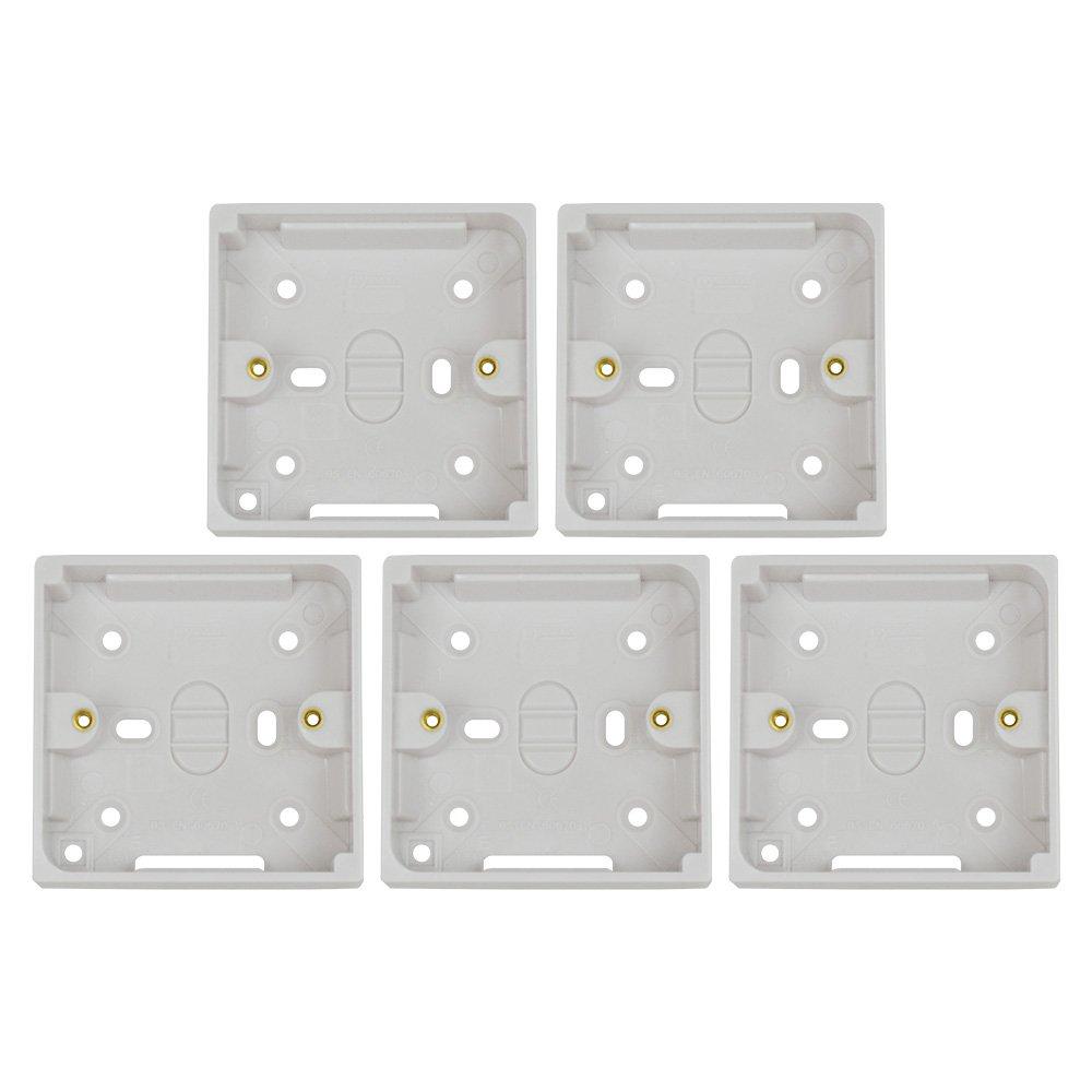 Status 25 mm 1 Gang Pattress Box - White (Pack of 5) Status International S1GPAT25MM5PK1