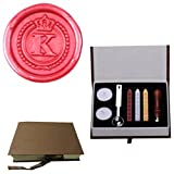 MNYR Vintage Alphabet Letter K Crown Wreath Initial Embossment Wedding Invitations Gift Cards Wax Seal Stamp Stationary Sealing Wax Stamp Wood Handel Gift Box Candles Wax Sticks Melting Spoon Kit Set