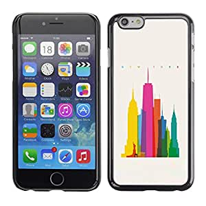 MobileHut / Apple Iphone 6 / City Colorful Art Skyscrapers Poly Art / Delgado Negro Plástico caso cubierta Shell Armor Funda Case Cover