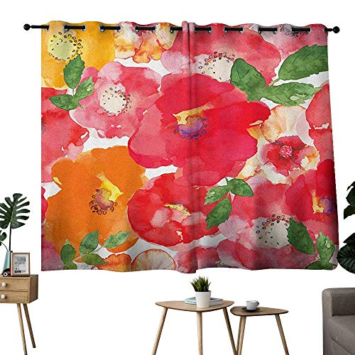 homecoco Flower Grommet pop Darkening Curtains Watercolor Styled Effect Floral Theme Beautiful Flowers and Leaves Pattern Art Curtain Darkening Blackout Red and Orange W55 x L63