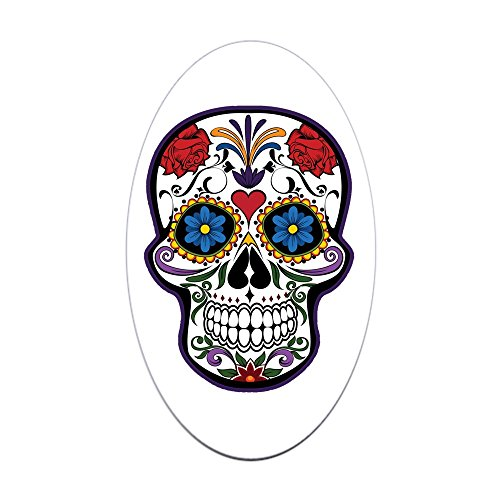 Sticker (Oval) Large Floral Sugar Skull Day of the (Latina Halloween Makeup)