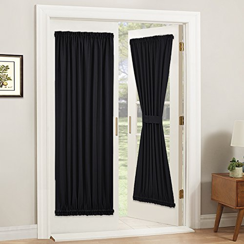 PONY DANCE Blackout French Door Curtain - Soft Fabric Heavy-Duty Rod Pocket Door Curtain for Privacy Window Drapery Including Bonus Adjustable Tieback, 54