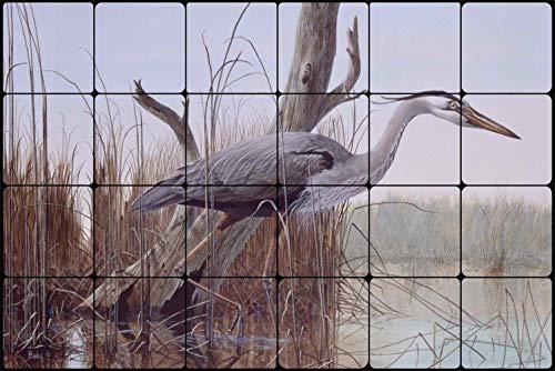 Stalking Stones - Stalking The Shallows by Robert Binks - Heron Wildlife Tumbled Marble Mural 16