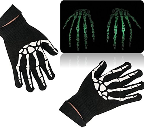 [Play Kreative Halloween GLOW-IN-THE-DARK Skeleton GLOVES - 1 Pair Black Glow Gloves] (Skeleton Costumes Glow In The Dark)