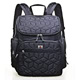 Large Capacity Diaper Bag Polyester Multi-Function Backpack Waterproof Travel Nappy Bag Fashion Mummy Bag (Black)