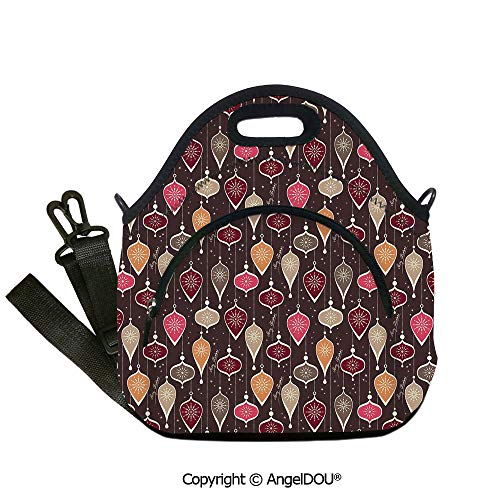 AngelDOU Winter portable thickening insulation tape Lunch bag Christmas Inspired Pattern with Ornate Traditional Elements Baubles and Snowflakes Decorative for Office School Trav12.6x12.6x6.3(inch)