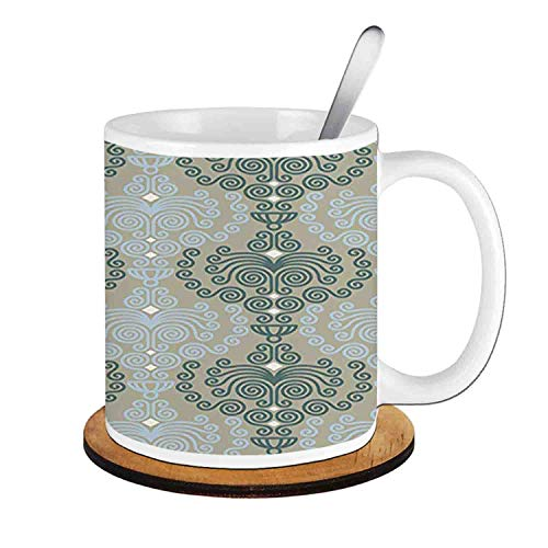 - Art Damask Desgin Floral Ornament Wallpaper ,Blue and Taupe;Ceramic Cup with Spoon & Round wooden coaster Milk Coffee Tea Mug 11oz gifts for family