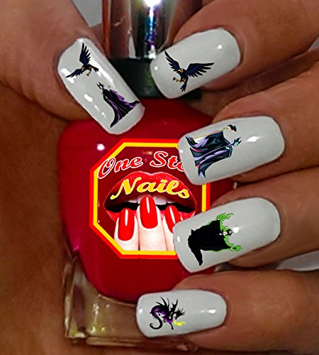 DISNEY MALEFICENT Waterslide Nails Decals Nail Art Decals. Clear Waterslide Nail Decals (Tattoo) Set of 58. DM-001-58 by One Stop Nails