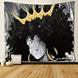basement wall ideas SARA NELL Tapestry African American Women with Crown Queen Tapestries Hippie Art Black Art Wall Hanging Throw Tablecloth 60X90 Inches for Bedroom Living Room Dorm Room
