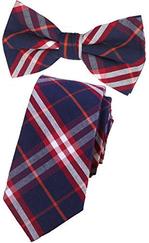 Plaid Flannel Tie - Flairs New York Flannel and Tweed Collection Neck Tie (Midnight Blue / Red / White [Plaid])