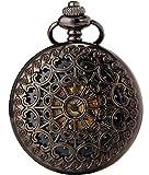 SEWOR Vintage Black Mesh Pocket Watch Luminous Case Automatic Mechanical Self Wind