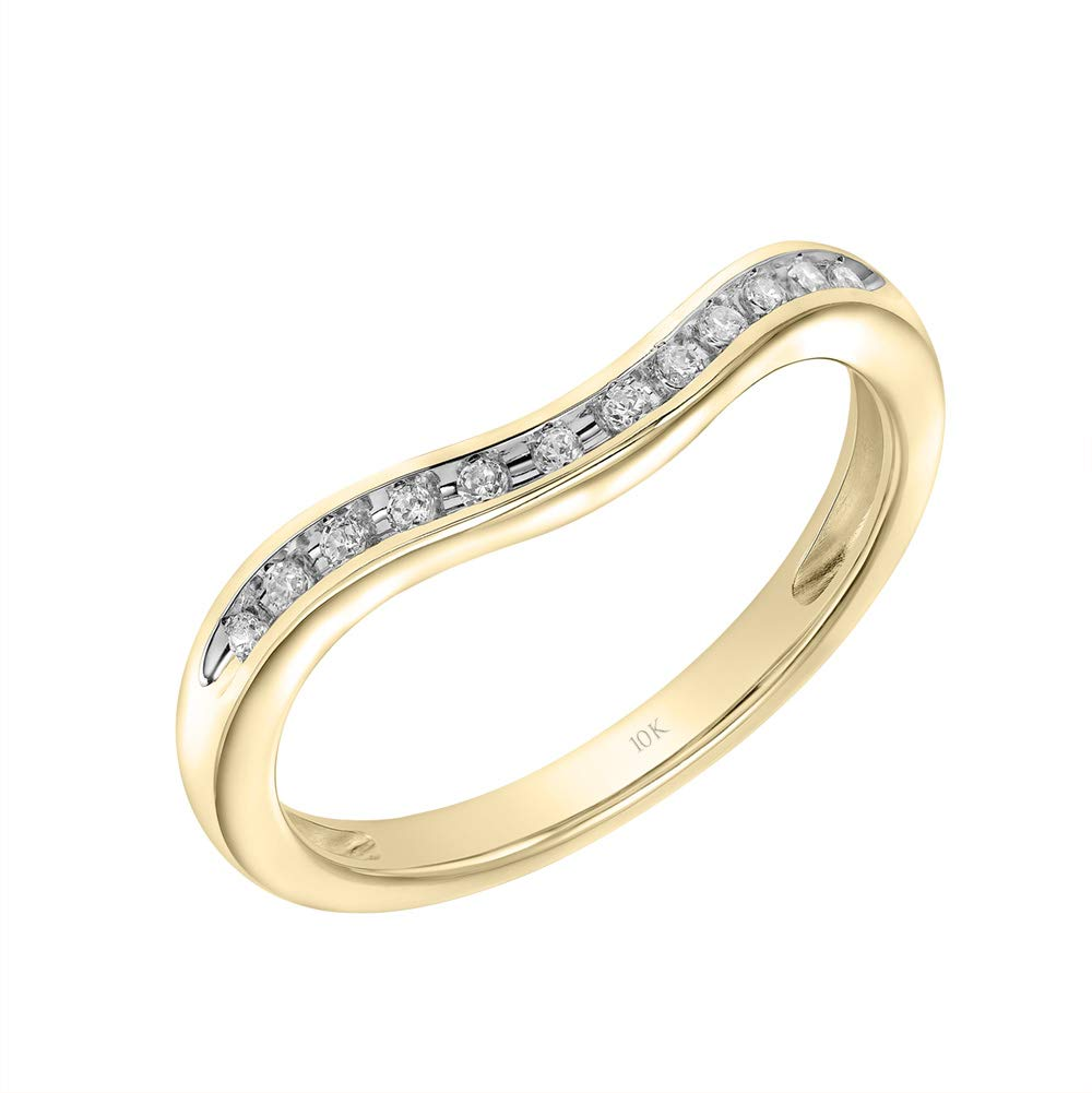 Brilliant Expressions 10K Yellow Gold 1/10 Cttw Conflict Free Diamond Curved Wedding Ring Enhancer (I-J Color, I2-I3 Clarity), Size 8