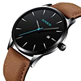 Men's Analog Quartz Watch Fashion Business Men's Watches Mens Sport Waterproof Watch for Men with Leather Strap Calendar Date Wristwatches