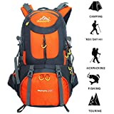 Hiking Backpack 50L Waterproof KankanRay Outdoor Sports Daypack for Climbing Mountaineering Camping Travel (Dark Blue) (Orange)