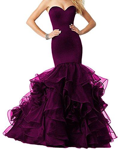 Trumpet Sweep - Dannifore Bodycon Grape Organza Evening Dresses Long Mermaid For Women Strapless Size 16