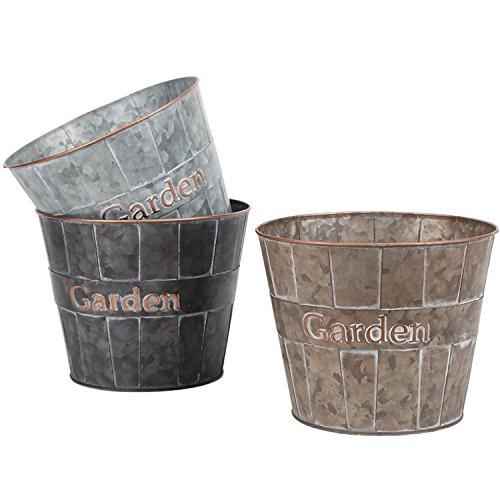 (Metal Planter Flower Pot Succulent Container Garden Bucket for Indoor or Outdoor Balcony Patio by CEDAR HOME, 8.5