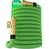 "3. Nifty Grower 100ft Garden Hose - New Expandable Water Hose with Double Latex Core 3/4"" Solid Brass Fittings Extra Strength Fabric - Flexible Expanding Hose with Storage Bag for Easy Carry"