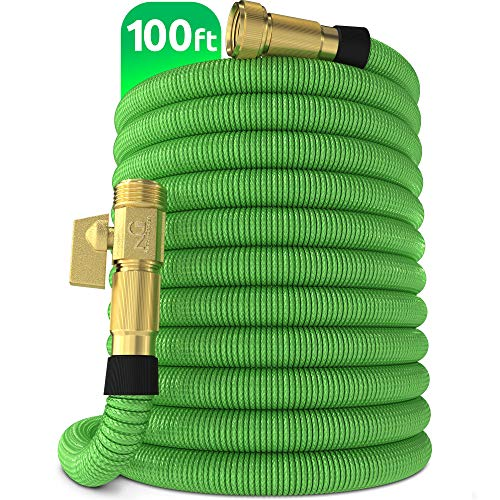 Nifty Grower 100ft Garden Hose – New Expandable Water Hose with Double Latex Core 3/4″ Solid Brass Fittings Extra Strength Fabric – Flexible Expanding Hose with Storage Bag for Easy Carry