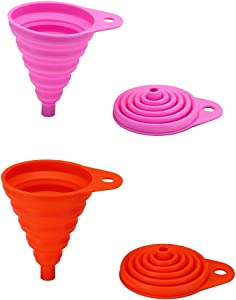 2 Pack Silicone Collapsible Funnel, Flexible/Foldable/Kitchen Funnel for Water Bottle Liquid Transfer Narrow and Wide Mouth Funnels Hopper