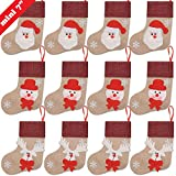 "Ivenf 12 Pack 7"" 3D Burlap Mini Christmas Stockings, Santa Snowman Reindeer Gift Card Silverware Holders, Bulk Treats for Neighbors Coworkers Kids Cats Dogs, Small Rustic Red Xmas Tree Decorations Set"