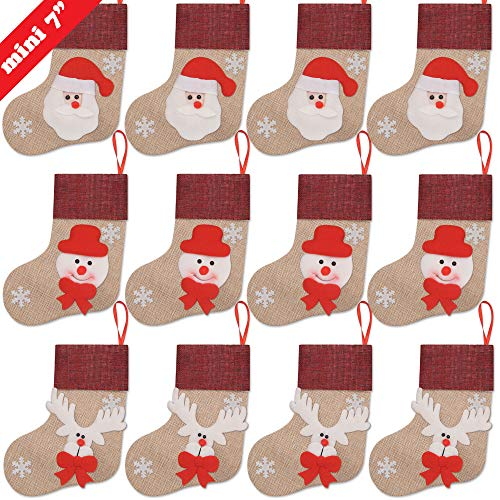 (Ivenf Christmas Mini Stockings, 12 Pcs 7 inches Burlap with 3D Santa Snowman Reindeer, Gift Card Silverware Holders, Bulk Treats for Neighbors Kids, Small Rustic Red Xmas Tree Decorations Set)