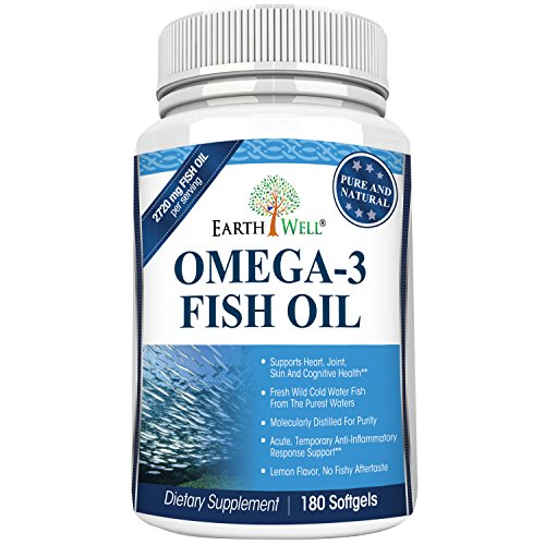 Earthwell Omega 3 Fish Oil Supplement Lemon Flavored   180 Capsules