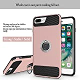 iPhone 7 Plus Case, iPhone 6s/6 Plus Case, MaiKuo 360 Degree Rotating Ring Grip kickstand Heavy Duty Shockproof Anti-Scratch + Tempered Glass Screen Protector Cover Skin for Apple 5.5 Inch_Rose Gold