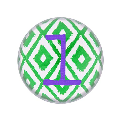 Decoration Table Concepts Cathys (Cathy's Concepts Personalized Ikat Domed Glass Paperweight, Letter L, Purple/Green/White)