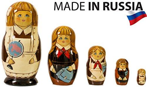 (Russian Nesting Doll - Schoolgirl - Hand Painted in Russia - Big Size - Traditional Matryoshka Babushka (7``(5 Dolls in 1), Style:Schoolgirl) )