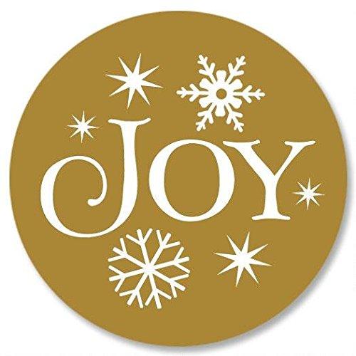 (Christmas Joy Envelope Seals - Set of 144, Gold Joy Christmas Envelope Seals, Gold Christmas Stickers)