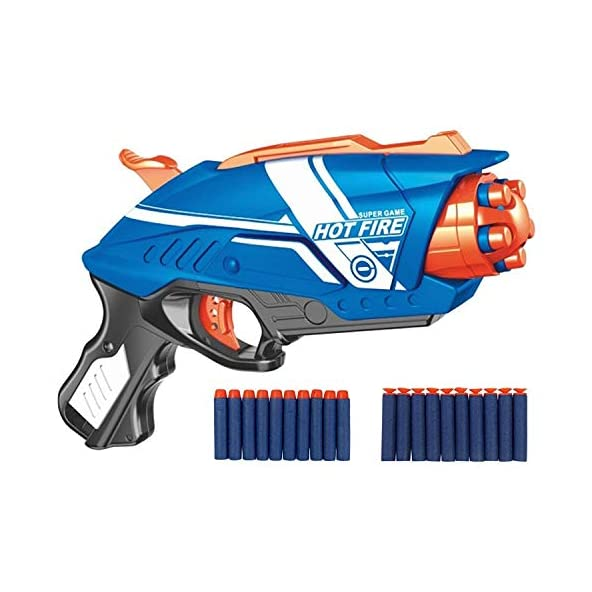 SHANBUYERS Blaze Storm Manual Bullet Shooting Pistol Gun Toy with 20 Soft Foam Bullets and Suction Darts for Kids.