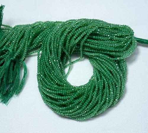 LOVEKUSH 50% Off Gemstone Jewellery 5 Strands, Green Onyx Beads, Original gemstone Micro Faceted Rondelle Beads, 2mm Onyx Rondelles, 13 Inch Code:- RADE-24356