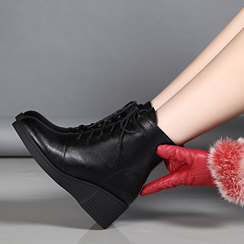 l'inverno l'autunno invernali tutto black stivali in china e femminili gli combaciano merletto GTVERNH cashmere con spessi stivali stivali qpX5Unx0