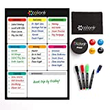 writing board refrigerator - Colore SNOW-WHITE Large Dry Erase Magnetic Whiteboard for Fridge or Calendar - Portable & Stain-Proof White Board
