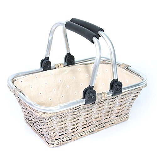 Discover Bargain KRZIL Oypeip Father's Day Gift Basket Luxury Woven Willow Storage Basket Picnic Bas...