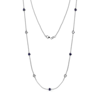 d51b70d0e1c626 TriJewels Blue Sapphire and Diamond (SI2-I1, G-H) 9 Station Necklace 2.31