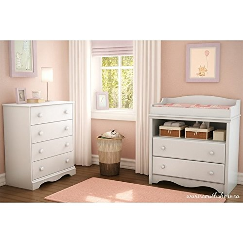 35.5 in. Changing Table and Chest Set in White by South Shore